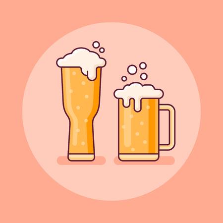 Two glasses of beer flat line icon on orange background. Vector illustration. Ilustração