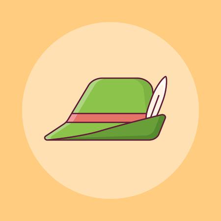Oktoberfest bavarian hat flat line icon on yellow background. Vector illustration.