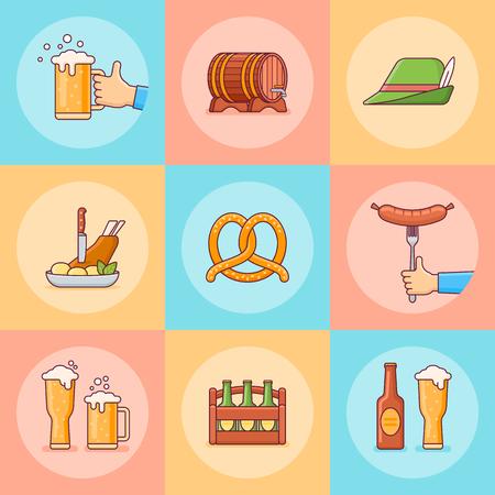 Set of Oktoberfest flat line icons. Beer festival elements. Vector illustration.