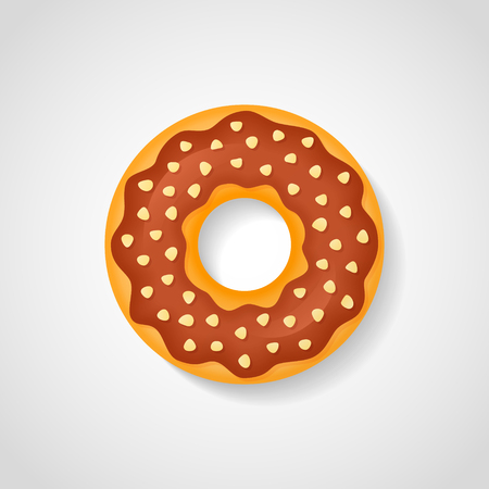 Sweet donut with chocolate glaze and nuts isolated on white background. Vector illustration. Ilustração