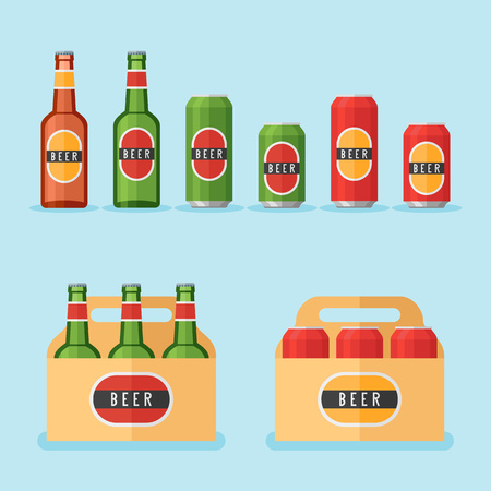 Set of beer bottles, cans and packs isolated on blue background. Flat style vector illustration.