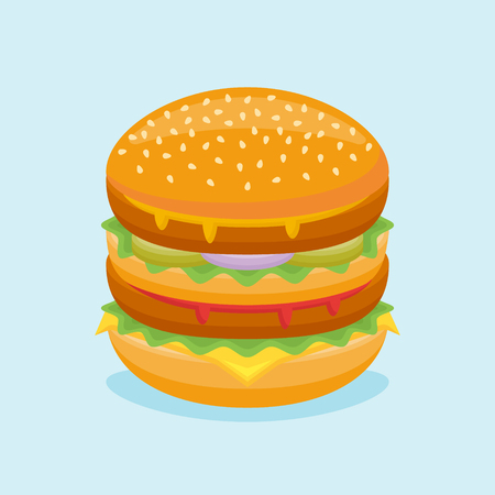 Double burger isolated on blue background. Vector illustration.