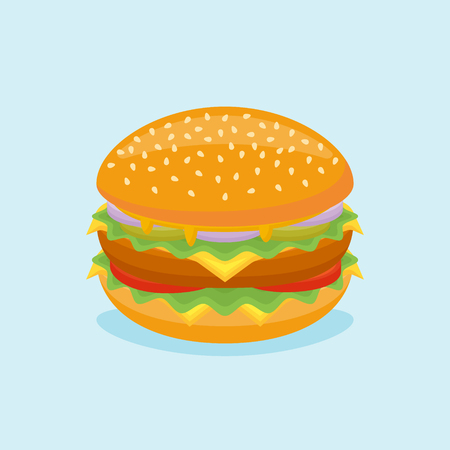 Hamburguesa grande con ternera, queso, lechuga, tomate, pepino y cebolla aislado sobre fondo azul. Ilustración de vector. Ilustración de vector