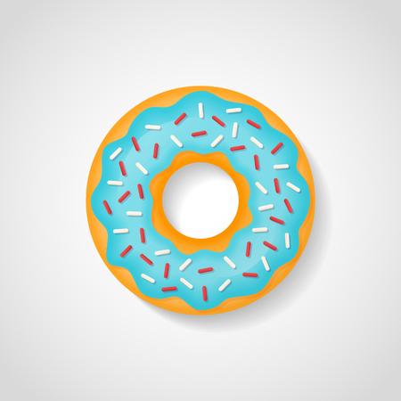 Sweet donut with blue glaze isolated on white background. Vector illustration.