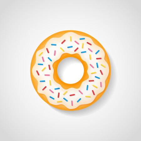 Sweet donut with white glaze isolated on background. Vector illustration.
