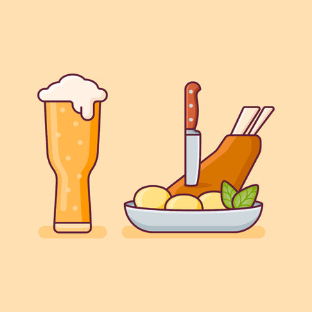 Pork knuckle with potatoes and glass of beer isolated on yellow background. Flat style vector illustration.