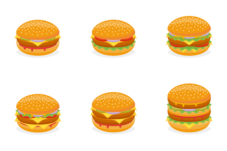 Conjunto de diferentes hamburguesas aislado sobre fondo blanco. Menú de comida rápida. Hamburguesa, hamburguesa con queso, hamburguesa de ternera, hamburguesa grande y doble. Ilustración de vector. Ilustración de vector