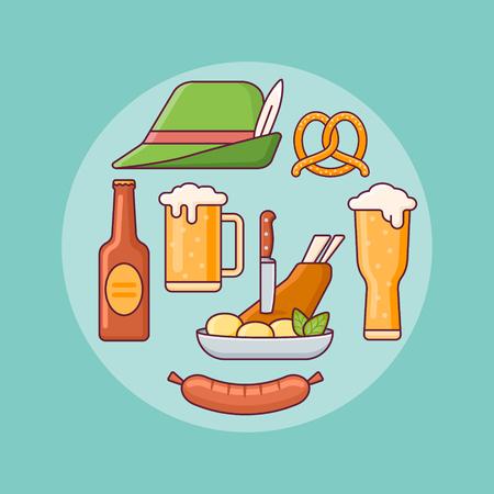 Set of Oktoberfest elements. Beer mugs, bottle, pretzel, sausage, pork knuckle and bavarian hat. Flat line icons.