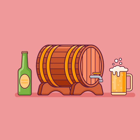 Beer bottle, glass and barrel isolated on red background. Oktoberfest flat style design. Vector illustration.