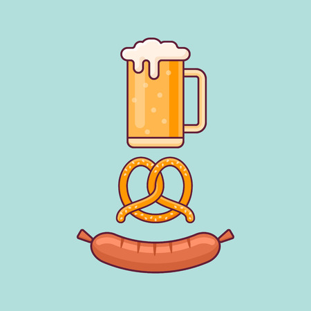 Beer mug, pretzel and sausage isolated on background. Oktoberfest flat style concept. Vector illustration.