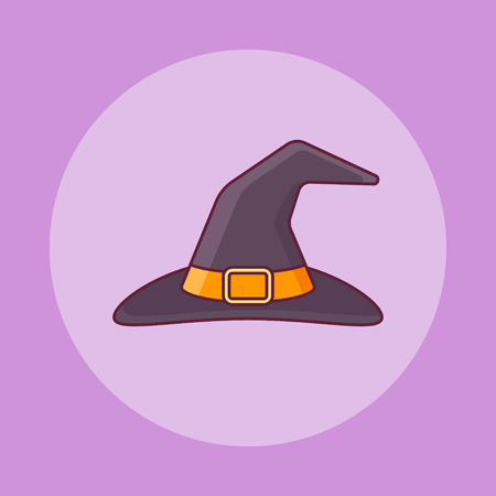 Witch hat flat line icon on purple background. Halloween elements. Vector illustration.
