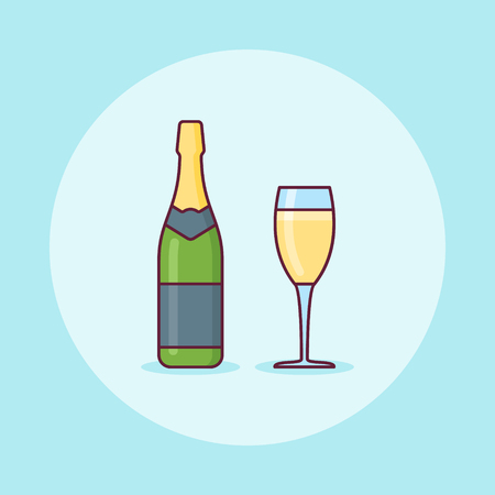 Bottle and glass of champagne flat line icon. Vector illustration.