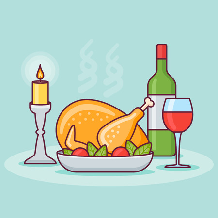 Thanksgiving dinner with roasted turkey, bottle and glass of wine. Flat line design. Vector illustration.