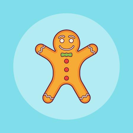 Gingerbread man flat line icon. Christmas element. Vector illustration. Ilustração