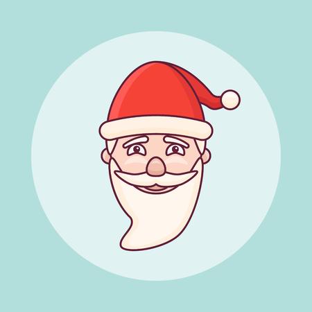 Santa Claus head flat line icon. Christmas element. Vector illustration.