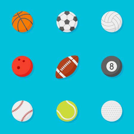 Set of sports balls flat style icons isolated on blue background. Vector illustration. Ilustração