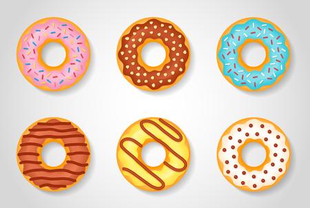 Set of sweet glazed donuts isolated on white background. Vector illustration. Ilustração