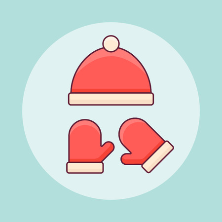 Red winter knitted hat and mittens flat line icon. Vector illustration.