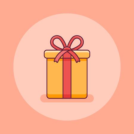 Christmas gift box flat line icon. Vector illustration.