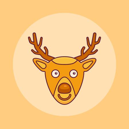 Christmas deer flat line icon. Vector illustration.