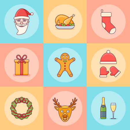 Set of Christmas elements. Santa Claus, gift box, wreath, sock, deer and other. Flat line icons. Vector illustration.