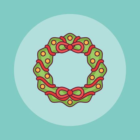 Christmas wreath flat line icon. Vector illustration. Ilustração