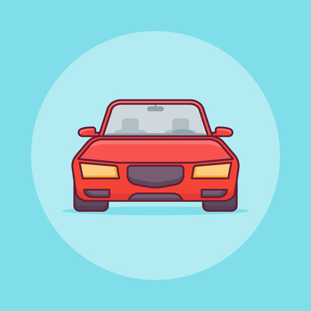 Red car flat line icon on blue background. Vector illustration.