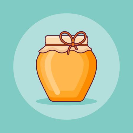 Jar of honey flat line icon on teal background. Vector illustration.
