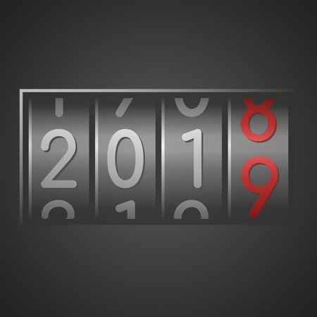 Analog counter of New Year 2019 on black background. Vector illustration. Ilustração
