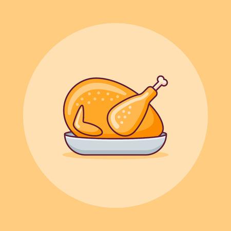 Roasted turkey or chicken flat line icon on yellow background. Vector illustration. Ilustração