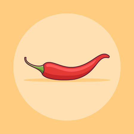 Red chilli pepper flat line icon on yellow background. Vector illustration. 矢量图像