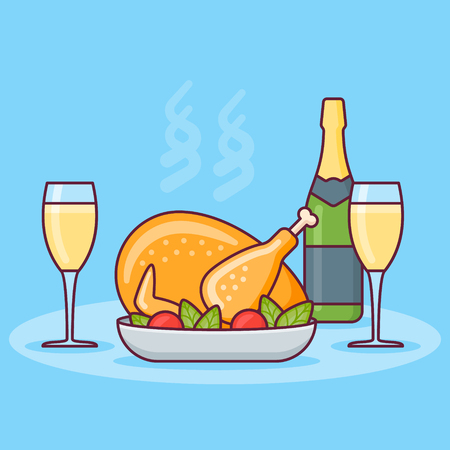 Christmas dinner with roasted chicken, bottle and glasses of champagne. Flat line design. Vector illustration.