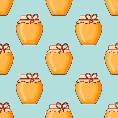 Seamless pattern with jar of honey on teal background. Vector texture.