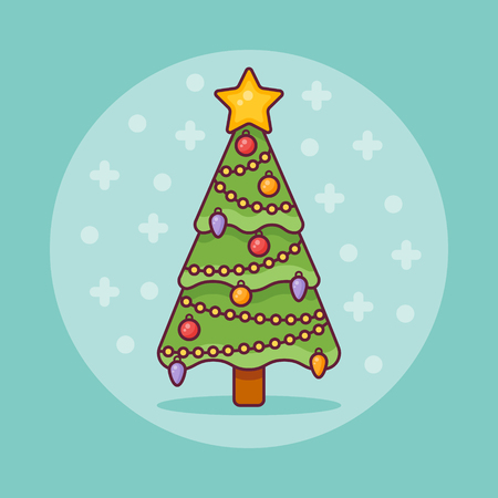 Decorated Christmas tree flat line icon on blue background. Vector illustration.