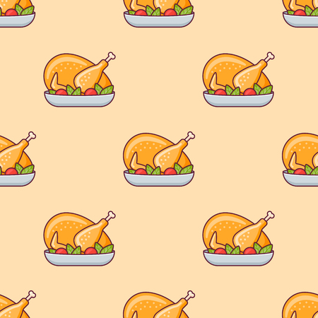 Seamless pattern with roasted turkey or chicken on yellow background. Vector texture.