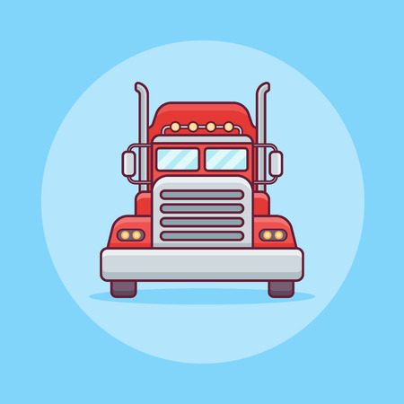 Truck or cargo transport flat line icon on blue background. Vector illustration.