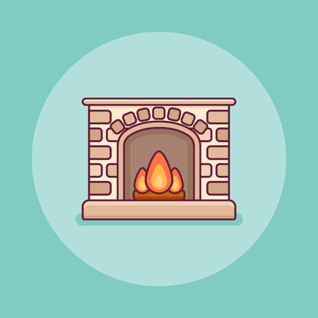 Classic home fireplace flat line icon on blue background. Vector illustration.