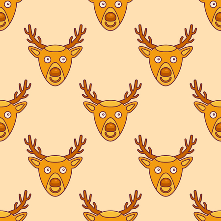 Seamless pattern with Christmas deer on yellow background. Vector texture.