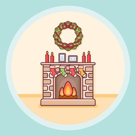 Christmas fireplace with candles, socks and wreath flat line icon on blue background. Vector illustration. Ilustração
