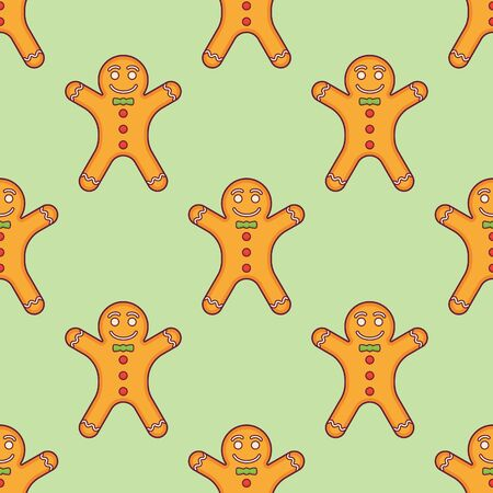 Seamless pattern with gingerbread man on green background. Vector texture. Ilustração