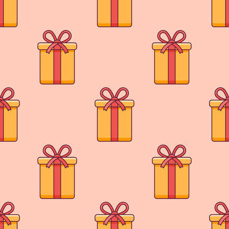 Seamless pattern with Christmas gift box on orange background. Vector texture. Ilustração