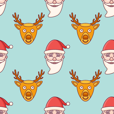 Seamless pattern with Santa Claus and Christmas deer on teal background. Vector texture.