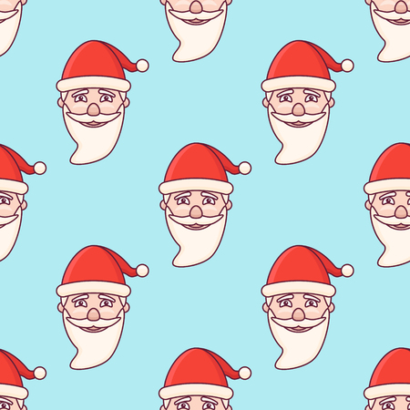 Seamless pattern with Santa Claus head on blue background. Vector texture.