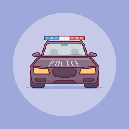 Police car flat line icon on purple background. Vector illustration. Illustration