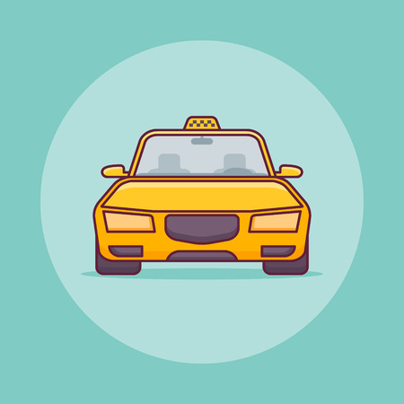 Yellow taxi car flat line icon on green background. Vector illustration.