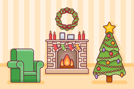 Christmas room interior with fireplace, tree, socks and armchair. Holiday decorations in flat line style. Vector illustration.