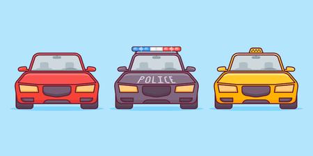 Set of cars flat line icons on blue background. Sport, police and taxi cars. Vector illustration. Ilustração
