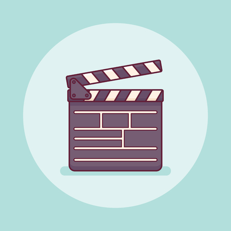 Movie clapper board flat line icon on teal background. Vector illustration.