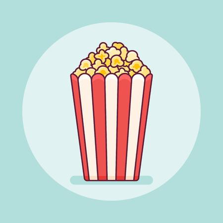 Popcorn bucket flat line icon on teal background. Vector illustration.