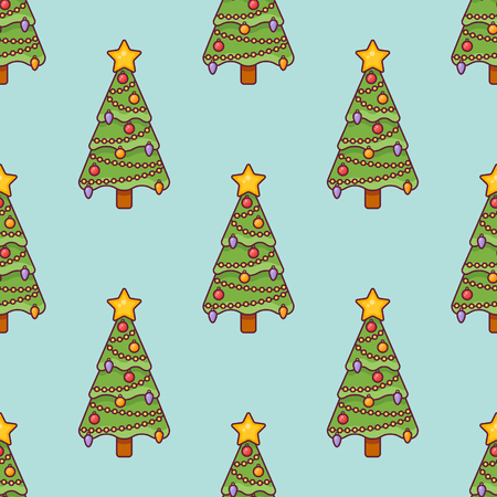 Seamless pattern with decorated Christmas tree on teal background. Vector texture. Ilustração